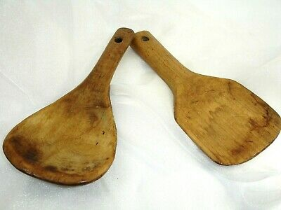 Pair of Antique Wooden Butter, Dough Paddles, Hand Carved, Primitives