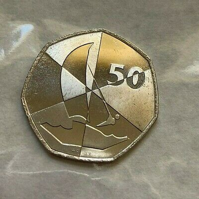 2019 Gibraltar Island Games Fifty Pence Coin 50p. Uncirculated. Wind Surfing