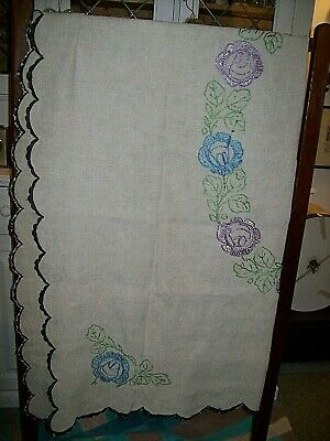"""Vintage Raw Linen Tablecloth-Hand Embroidered Floral Motifs-56"""" x 50"""" approx"""
