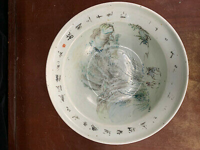 Large Chinese Antique Famille Rose Porcelain Bowl Painted Landscape & Characters