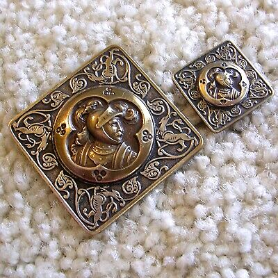 Ex rare antique French mother/daughter pair KING ARTHUR brass buttons backmark