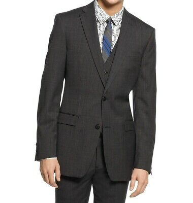 Bar III NEW Gray Mens Size 38 Long Slim Fit Two Button Wool Blazer $425 #086