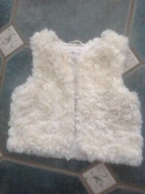 H&M girls faux fur gilet body warmer gillet bodywarmer good cond 3/4 yrs
