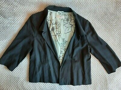 UK 16 Womens CC Country Casuals Linen and Silk Blazer Ladies 3/4 Sleeve Black