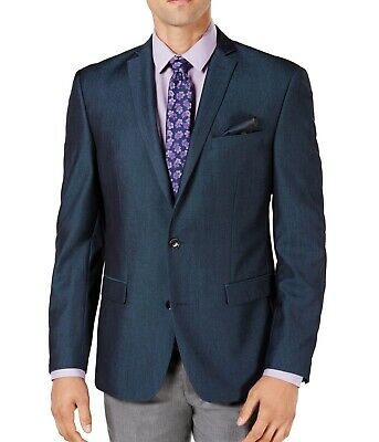 Bar III Mens Blazer Blue Size 36 Slim Fit Two Button Notch-Collar $275 039