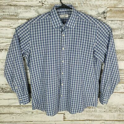YVES SAINT LAURENT Pour Homme Mens Long Sleeve Button Down Plaid Shirt 44/17 1/2
