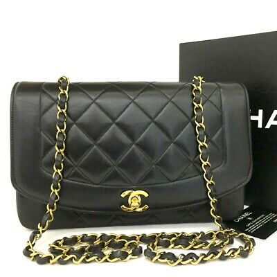 CHANEL Quilted Matelasse Diana 25 CC Logo Lambskin Chain Shoulder Bag /ee239