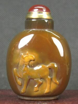 Excellent Chinese Horse Carved Natural Agate Snuff Bottle