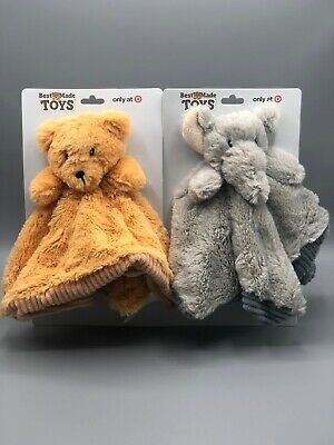 Best Made Toys - Adorable Bear / Elephant Baby Security Blanket Toy With Rattle
