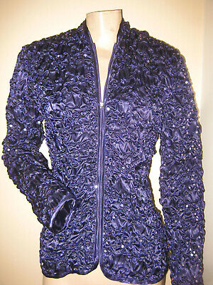 FABULOUS!! Vintage 80s Glam Scarlett Nite Purple Satin Sequin Zip-Up Jacket XS/S