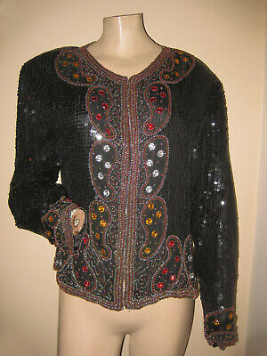 Vintage 80s Glam Black Silk Sequin Gold Multicolor Jeweled Evening Jacket M/L