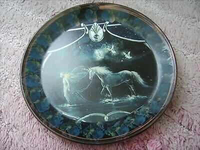 Unicorn  And Fairies     On A Decoupage  Plate