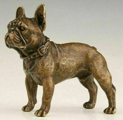 Retro Chinese Bronze Statue Animal Bulldog Solid Mascot Collection Gift