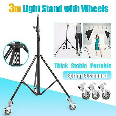 Studio Light Stand Heavy Duty 300cm Wheeled Professional Adjustable Photo Tripod