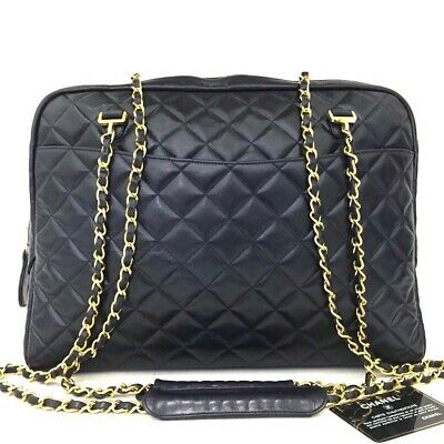 CHANEL Quilted Matelasse Lambskin CC Logo Chain Shoulder Tote Bag Navy /o526