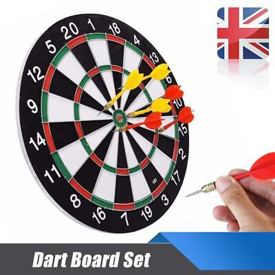 "Large 15"" Dart Board Set Dartboard Family Party Game Fun With 6 Darts Kids UK"