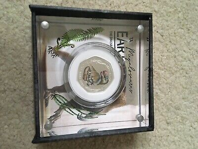 Royal mint 50p Dinosaur Megalosaurus Coloured SILVER PROOF coin With Box And Co