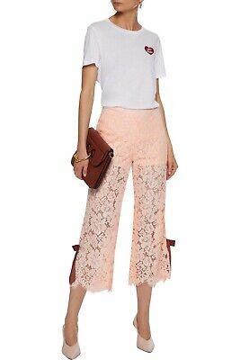GANNI Duval Cropped Corded Lace Wide-leg Pants Size UK 10 12 RRP £200