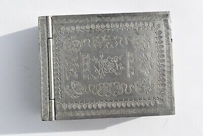 Unusual Antique Chinese Pewter Vanity Box/Compact Engraved Flowers, Book, Moth