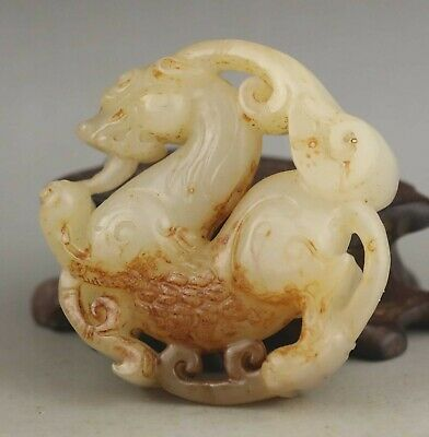 Chinese old natural hetian jade hand-carved statue dragon pendant 2.1 inch