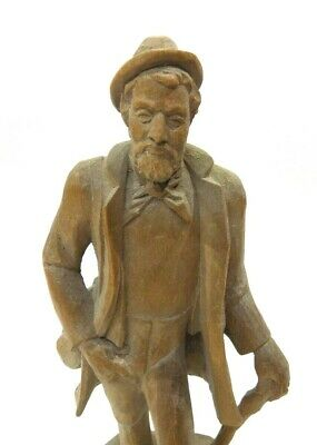 "Vintage Hand Carved Wooden Man Statue 8 3/4"" Tall-All one Piece-Folk Art(?)"