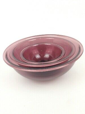Vintage Lot of 3 Pyrex Corning Glass Nesting Mixing Bowls Cranberry Color