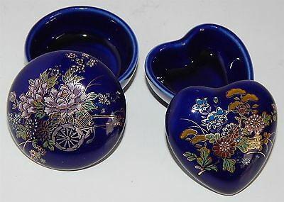 Two Beautiful Patterned Chinese Trinket Boxes - Round & Heart Shaped