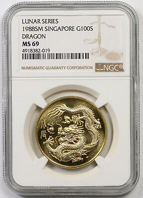 1988 SM Singapore G100S Gold 100 Singold Lunar Series Dragon MS 69 NGC 1 oz