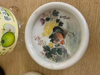 Chinese Antique Small Famille Rose Porcelain Dishashtray Painted Garden Red M