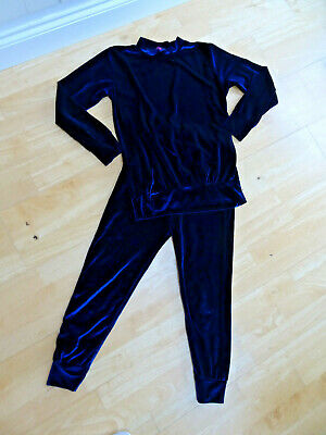 CHIC LONDON girls blue soft velvet 2 piece tracksuit set trousers top AGE 13 YEA
