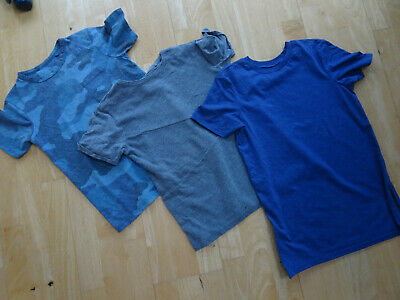 RIVER ISLAND boys 3 pack t shirts grey blue camoflauge AGE 7 - 8 YEARS EXCELLENT