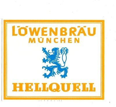 1960s LOWENBRAU BREWERY, MUNICH, GERMANY HELLQUELL BEER LABEL