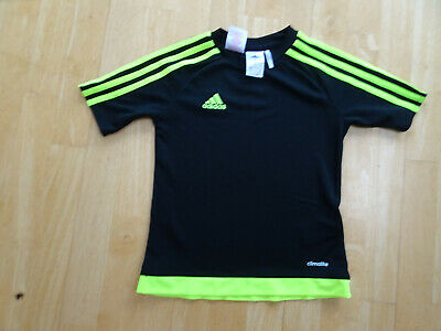 ADIDAS boys black yellow t shirt top AGE 7 - 8 YEARS EXCELLENT CONDITION