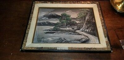 OLD Vintage Painting Framed Beautiful landscape-Unknown raised substrate Asian