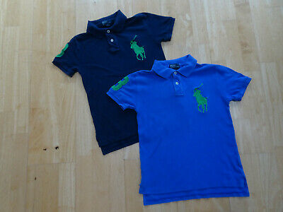 RALPH LAUREN POLO boys 2 PACK designer t shirts navy blue AGE 8 - 9 YEARS