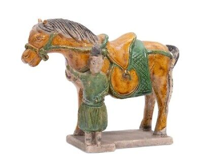 Chinese Tang Style Sancai Glazed Pottery Model of a Horse and Groom