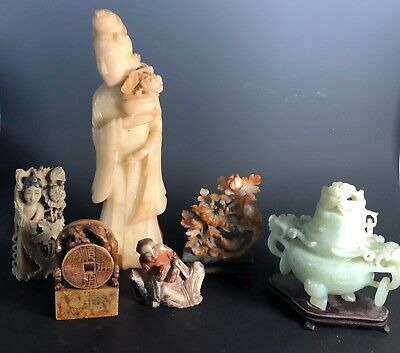 Lot of Old Chinese Carved Statues Seals Soapstone Buddha Guanyin Guan Yin