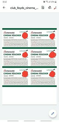 6 x  (SIX) Cineworld Cinema Tickets From Club Lloyds  Expiry March 2021