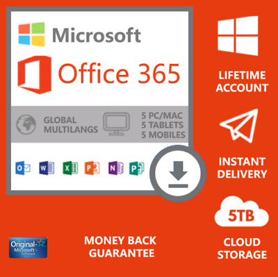 Microsoft Office 365 2019 Lifetime Account License For 5 PCs Win Mac 5 TB Cloud