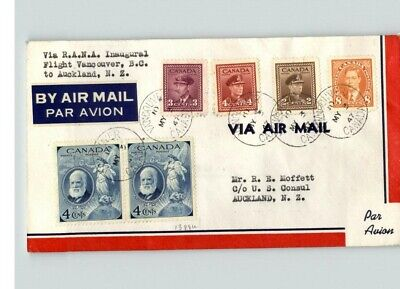 CANADA Airmail First Flight, Vancouver, B.C. to Auckland, New Zealand to Amer. C