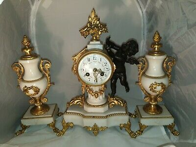 Antique louis xvi style White Marbel bronze ormolu garniture Clock & 2 side urns