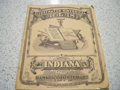 1876 All Counties Maps,Illustrated Historical Atlas, INDIANA, soft cover
