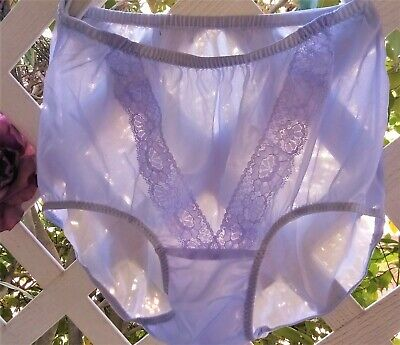 Lilac V-Lace See-Thru Acetate Sheer Unlined Crotch Granny Panty Brief M/L