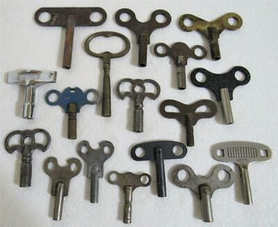 17 pc. vintage antique clock parts keys wind up key lot brass steel various size