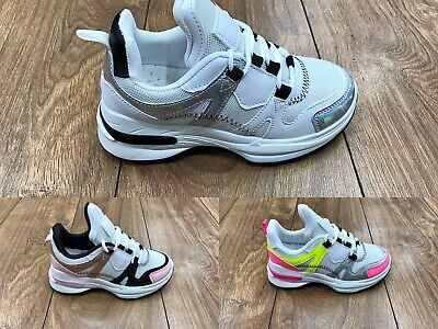 Kids Girls Children's Designer Inspired Fashion Chunky Sole Ankle Trainers Shoes