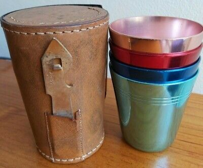 Set of 4 60s Hickok anodised aluminium TRAVEL CUPS + leather case/bottle opener