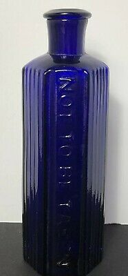 Antique Cobalt Blue Poison Bottle Heavy Glass with Flared Lip, Rare