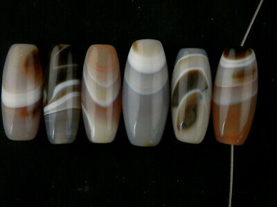 6Pics Wonderful Pure Tibetan Natural Agate Dzi Beads C041