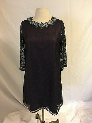 M KOROVILAS Mid-Night Blue Lace Jeweled Pearl Lined Shirt Cocktail Dress LARGE