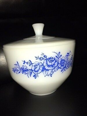 Federal Glass Covered Bowl Milkglass Blue Floral